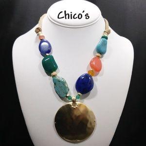 Chico's Multi-colored Stone Pendant Necklace